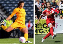 Hope Solo and Brandi Chastain