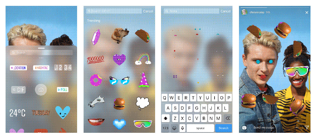 Stickers: location, gifs, emojis and more.