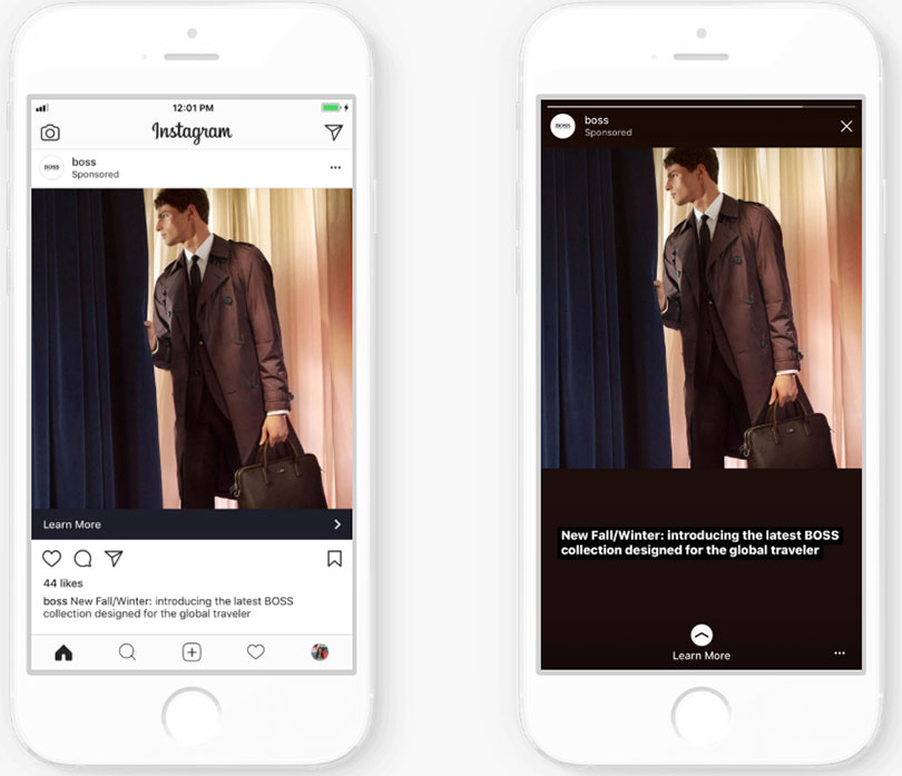Utilize full screen support for all ads in Instagram. Businesses