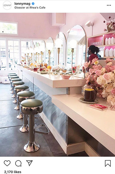 Glossier pop-up at Rhea's Café in San Francisco.