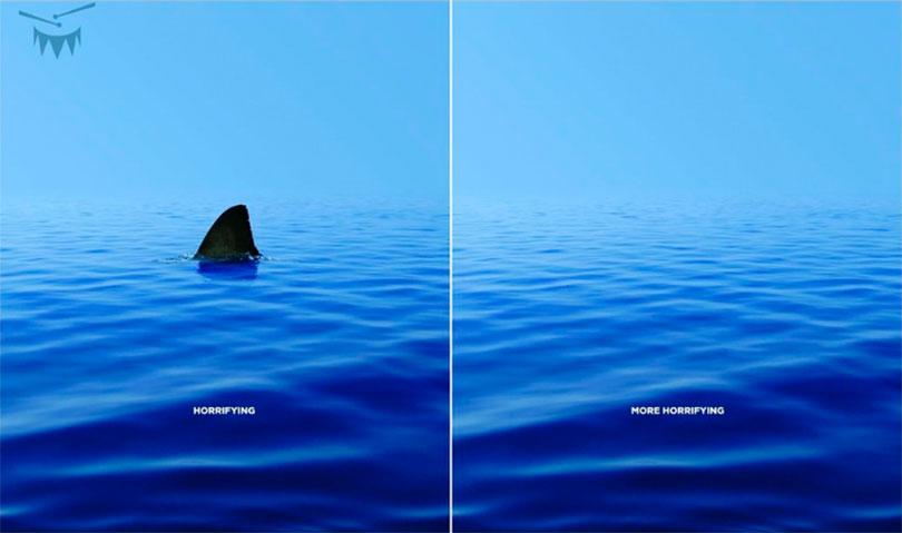 Ocean with shark. Ocean without shark.