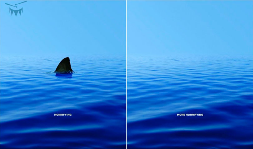 Ocean with shark. Ocean without shark.