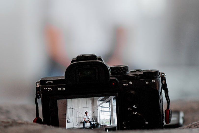 A video camera captures a blurry image of its subject.
