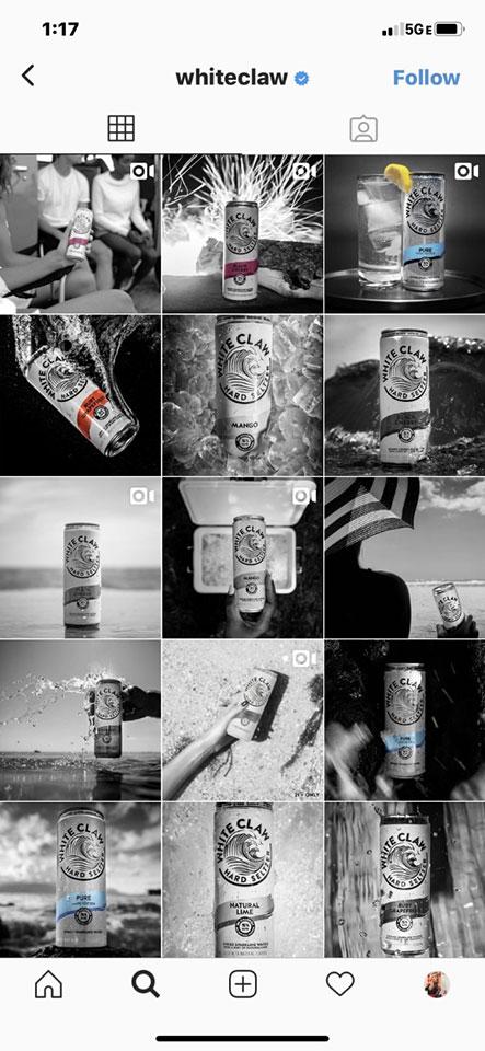 White Claw Hard Seltzer Instagram Account