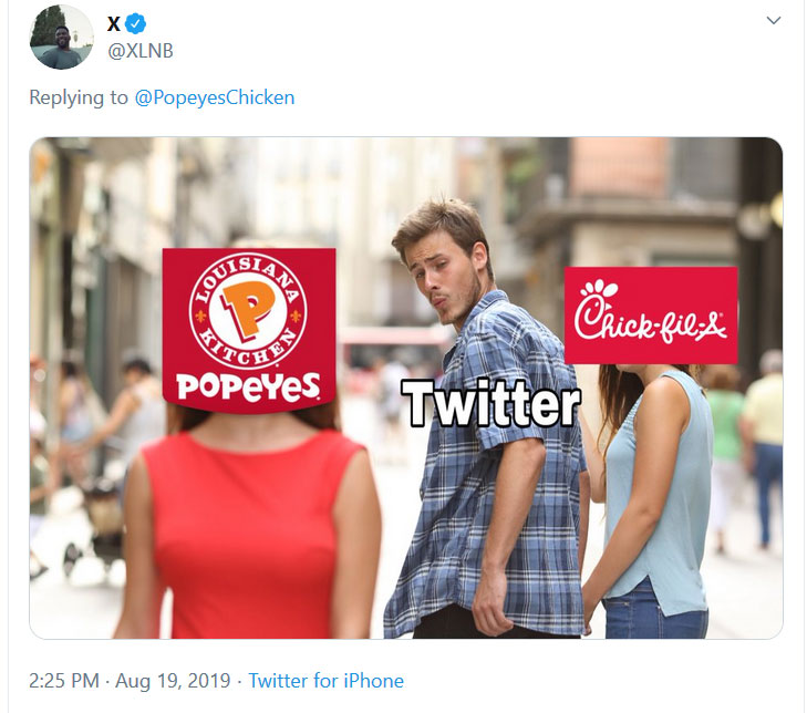 Popeyes and Chick-fil-a chicken sandwich meme