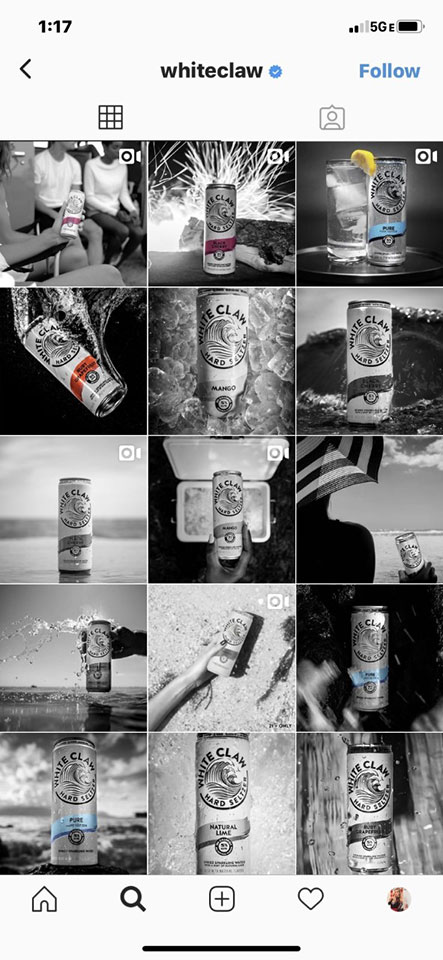 White Claw Hard Seltzer Instagram Account