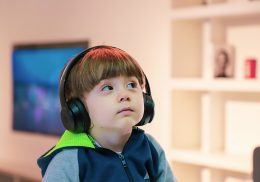 Little boy wearing headphones