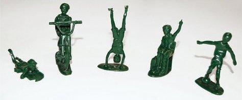Toy soldier figurines enjoying childhood activities