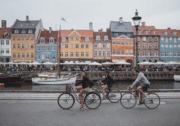 Tourists bike in Copenhagen
