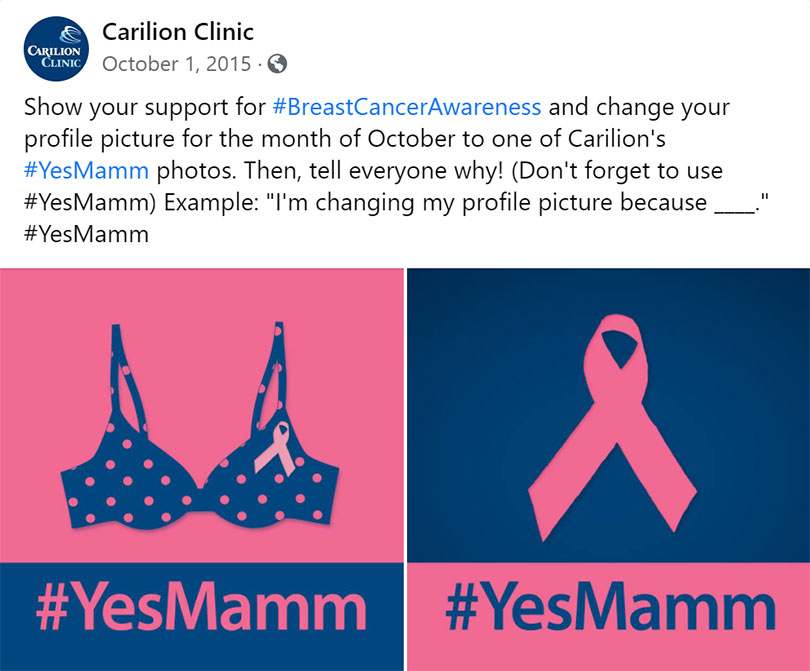 Breast cancer awareness images with #YesMamm
